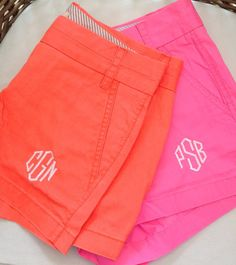 Monogrammed J crew shorts. Would probably look good with a vineyard vines sweater, Kate Spade clutch, And Tory Burch Sandals