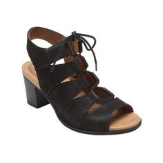 Women's Rockport Cobb Hill Hattie Lace Up Sandal ($100) ❤ liked on Polyvore featuring shoes, sandals, black, casual, casual footwear, black leather sandals, mid-heel sandals, black sandals, leather sandals and black shoes