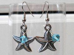 Metal Silver Starfish and Turquoise by LucysBeadedSplendors, $9.00