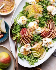 Simple burrata salad made with pears and arugula! Creamy burrata cheese and walnuts make this salad recipe a delicious and easy side salad or meal on its own. Refreshing idea for summer or perfect for the fall pear season. This is a great family friendly crowd pleaser! Burrata Salad, Arugula, Burrata Cheese, Healthy Side Dishes, Side Dish Recipes, Pear Recipes Breakfast, Appetizer Recipes, Salad Recipes, Appetizers
