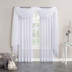 "Emily Sheer Voile Window Curtain Scarf White 59""x216"" - No. 918"