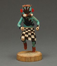 Miniature Hand Runner Kachina doll by Kevin Sekakuku (Hopi)