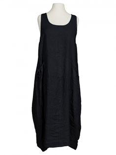 Damen Leinenkleid, schwarz von Spaziodonna bei www.meinkleidchen.de