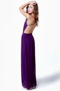 Rooftop Garden Backless Purple Maxi Dress