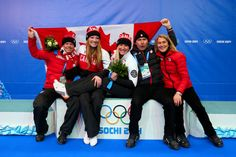 Kaillie Humphries (C) and Heather Moyse of Canada team 1 celebrate after winning the gold medal with Chef de Mission Steve Podborski during the Women's Bobsleigh (c) Getty Images Kaillie Humphries, Bobsleigh, Wide World, World Of Sports, Olympics, Canada, Celebrities, Gold, Celebs