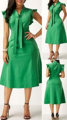 Cute Dress Outfits, Stylish Dresses, Elegant Dresses, Pretty Dresses, Beautiful Dresses, Casual Dresses, Green Dress Outfit, African Dresses For Kids, Latest African Fashion Dresses