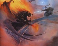 Gandalf fighting the Balrog by  John Howe