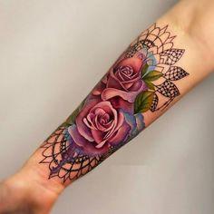 Ravishing Tattoos To Rock - Vincisjournal Cover Up Tattoos, Hot Tattoos, Pretty Tattoos, Beautiful Tattoos, Flower Tattoos, Body Art Tattoos, Colorful Flower Tattoo, Tatoos, Mandala Rose Tattoo