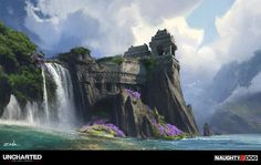Uncharted: The Lost Legacy - Waterfall Shrine by Eytan Zana on ArtStation. Fantasy Art Landscapes, Fantasy Landscape, Fantasy Artwork, Environment Concept Art, Environment Design, Cool Pictures Of Nature, Dungeons And Dragons Art, Landscape Concept, Fantasy Places