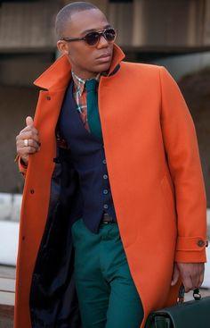 Orange coat displays individuality! #Fashion #Style