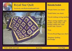 **Crown Royal Quilt Pattern - Remember to contact me if you have any questions! ** For the confident beginner or advanced level Quilting For Beginners, Quilting Tutorials, Quilting Designs, Quilting Ideas, Crown Royal Quilt, Crown Royal Bags, Star Quilt Patterns, Star Quilts, Purple Fabric