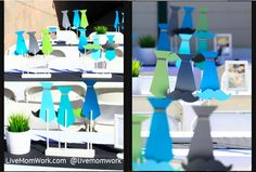 Little Man mustache and tie boy's first birthday party centerpieces