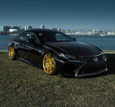 Gold status: black hawk Lexus RC on gold wheels. Lexus Cars, Bmw Cars, Car Parts And Accessories, Scion Xb, Sweet Cars, Car Car, Car Show, Exotic Cars, Motor Car
