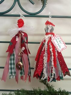 Fabric and Ribbon Christmas Tassels-for Decorations-use up your scraps & bits
