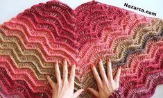 BATİK SİMLİ KEK PİNDEN MELEK KANADI ŞAL YAPIMI | Nazarca.com Crochet Scarves, Crochet Shawl, Free Crochet, Knitting Patterns, Crochet Patterns, Moda Emo, Crochet Triangle, Batik, Wrap Pattern