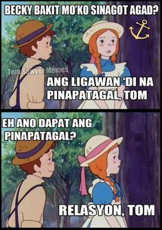 👍🏻 Tagalog Quotes Funny, Tagalog Quotes Hugot Funny, Pinoy Quotes, Filipino Humor, Filipino Quotes, Pick Up Lines Tagalog, Memes Pinoy, Hugot Lines Tagalog, Patama Quotes