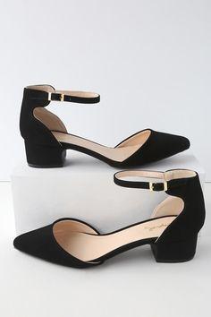 3fb2b1fd848 Lucinda Black Nubuck Ankle Strap Pumps Low Block Heel Sandal