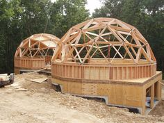The geodesic dome home design is a breakthrough in shelter, not only in cost effectiveness, but in ease of construction and energy efficiency. Here are some geodesic dome home kit companies we can recommend if you're considering building your own. Dome Home Kits, Geodesic Dome Homes, Geodesic Sphere, Dome Structure, Dome House, Earth Homes, Earthship, House Floor Plans, Building A House