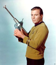 Publicity photo, for the 1960's television series, STAR TREK (original vintage image color and density adjusted).