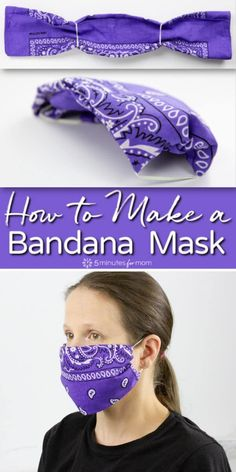 Diy Mask Discover Bandana Mask - DIY Face Mask How to make a bandana mask. It takes less than a minute to make a no-sew cloth face mask with two elastic bands and a bandana or any piece of cotton fabric such as a large square cut out of an old shirt. Easy Face Masks, Homemade Face Masks, Diy Face Mask, Mascarilla Diy, Diy Masque, Old Shirts, Pocket Pattern, Mask Making, Hair Ties