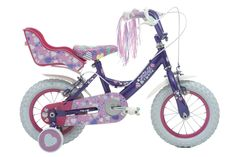 """The Raleigh Krush 12"""" Girls Bike has a patchwork design with streamers and a doll carrier!"""