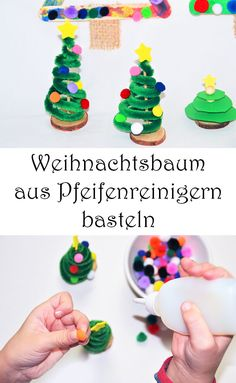Oh Tannenbaum – Tannenbaum mit Kindern basteln – 3 einfache DIY-Ideen DIY DIY Christmas Tree with Pipe Cleaners – Tinker Christmas Tree with Kids for Christmas – 3 Simple Ideas How To Make Christmas Tree, Christmas Crafts, Christmas Ornaments, Spice Cupcakes, Pumpkin Cupcakes, Cutting Activities, Holiday Cocktails, Pin Collection, Wedding Gifts