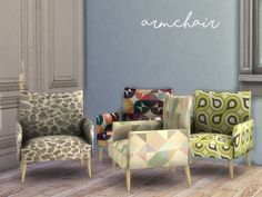 A modern vintage armchair dressed with colorful textures Found in TSR Category 'Sims 4 Living Chairs'