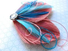 CORAL HAIR CLIPS | DREAM in Coral and Turquoise Peacock Feather Hair Clip, Feather ...