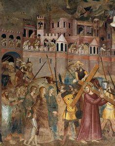 Andrea di Bonaiuto - Cristo porta la croce al Calvario - affresco - 1365-1367 - Cappellone degli Spagnoli - Museo di Santa Maria Novella, Firenze