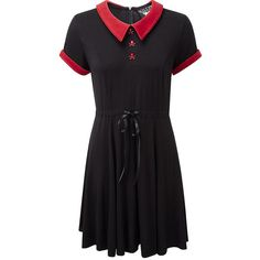 Killstar Doom Dress (Black/Red) ($38) ❤ liked on Polyvore featuring dresses, black, killstar, red, gothic dresses, red goth dress, gothic lolita dress, red gothic dress and goth dresses