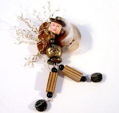 Model Original Jewelry Art Doll Pin Brooch Altered Art Assemblage OOAK