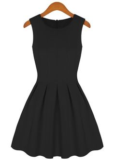 Black Plain Round Neck Sleeveless Cotton Blend Dress