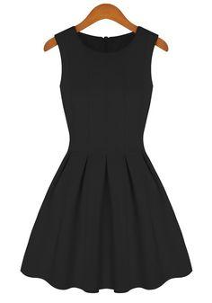 Black Plain Round Neck Sleeveless Cotton Blend Dress