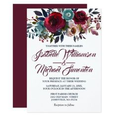 Watercolor Burgundy Red Floral Wedding Invitations - winter wedding diy marriage customize personalize couple idea individuel
