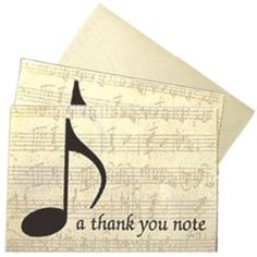 "Boxed Set Of Musical ""Thank You"" Note Cards Beautifully Finished With Musical Theme"