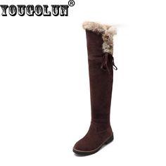 Yougolun冬女性オーバー膝雪のブーツ女性腿の高いブートエレガント結び目女性黒黄茶色の雪のブーツ低ヒール
