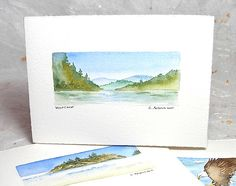 Pacific Westcoast, Original Watercolor Art Card - Paintings for Sale