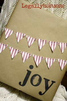 Mini Bunting banner garland gift wrap Christmas by LegallyTwinsane, $13.00