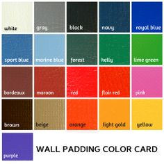 Wall padding color card with royal blue, navy blue