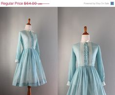 SALE Vintage Dress / 1960s Sheer Blue Dress / 60s by HolliePoint, $51.20