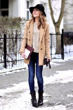 fall / winter - street style - street chic style - casual outfits - fall outfits - winter outfits - black fedora + beige sweater + camel coat + skinny jeans + black mid calf boots + cognac clutch + black gloves - comfy outfits