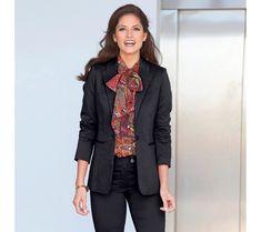 Kostýmové sako na gombík Collection, Jackets, Women, Products, Fashion, Leather Jackets, Thigh, Long Sleeve, Down Jackets