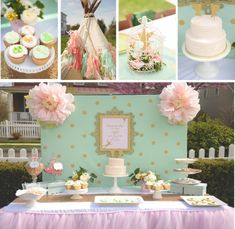 Neverland Birthday Party in sweet pink, gold and mint by Sweetly Chic Events