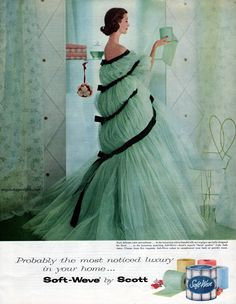 this green toilet paper would match perfectly in my powder room! Wish they still made it! Vintage Ad - Soft-Weve by Scott 1957 They made soft green, pale blue, pink, yellow