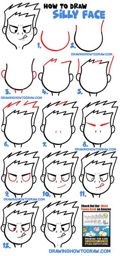 This is the first tutorial in a large series of tutorials on drawing facial expressions or silly faces. This particular lesson is on how to draw a cartoon face (boy) trying to touch his tongue to his nose. Cartoon Faces, Cartoon Drawings, Silly Faces, Draw Faces, Drawing Tips, Drawing Tutorials, How To Draw Steps, Easy Canvas Painting, Cartoon Coloring Pages
