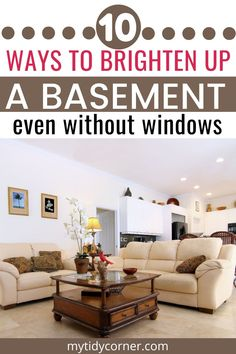 Learn how to brighten up a basement even if it has no windows. These simple ideas and tips will help you make a basement brighter. Basement Apartment Decor, Basement Living Rooms, Cozy Basement, Dark Basement, Dark Living Rooms, Basement Remodel Diy, Basement Windows, Basement Makeover, Living Room Windows