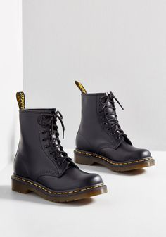 I Like How You Lean Leather Boot in 5 - Flat - 0-1 Mid-calf by Dr. Martens from ModCloth