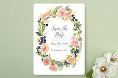 Watercolor Wreath Save The Date Cards