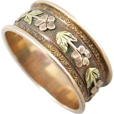Victorian Floral Rose Gold Cigar Band Ring  - found at www.rubylane.com @rubylanecom
