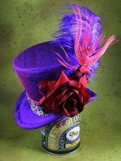 @Kimberly Barton > I love this milliner's style and use of vivid colors!  Moulin Rouge purple silk Mini Tophat, womens